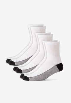 1/4 Length Cushioned Crew Socks 3-Pack,