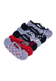 6 Pair Pack Strappy Ballerina Socks,