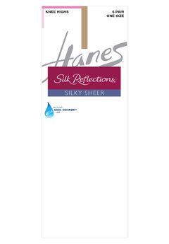 Silk Reflections Knee Highs Sheer Toe 6-Pack,