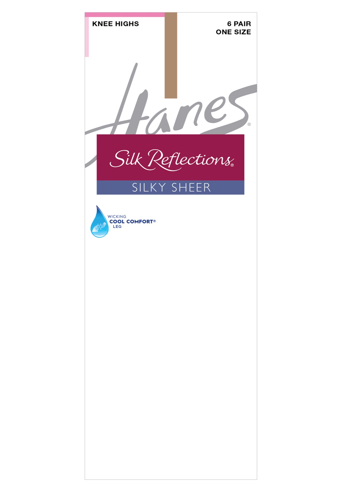 Silk Reflections Knee Highs, Reinforced Toe 6-Pack,