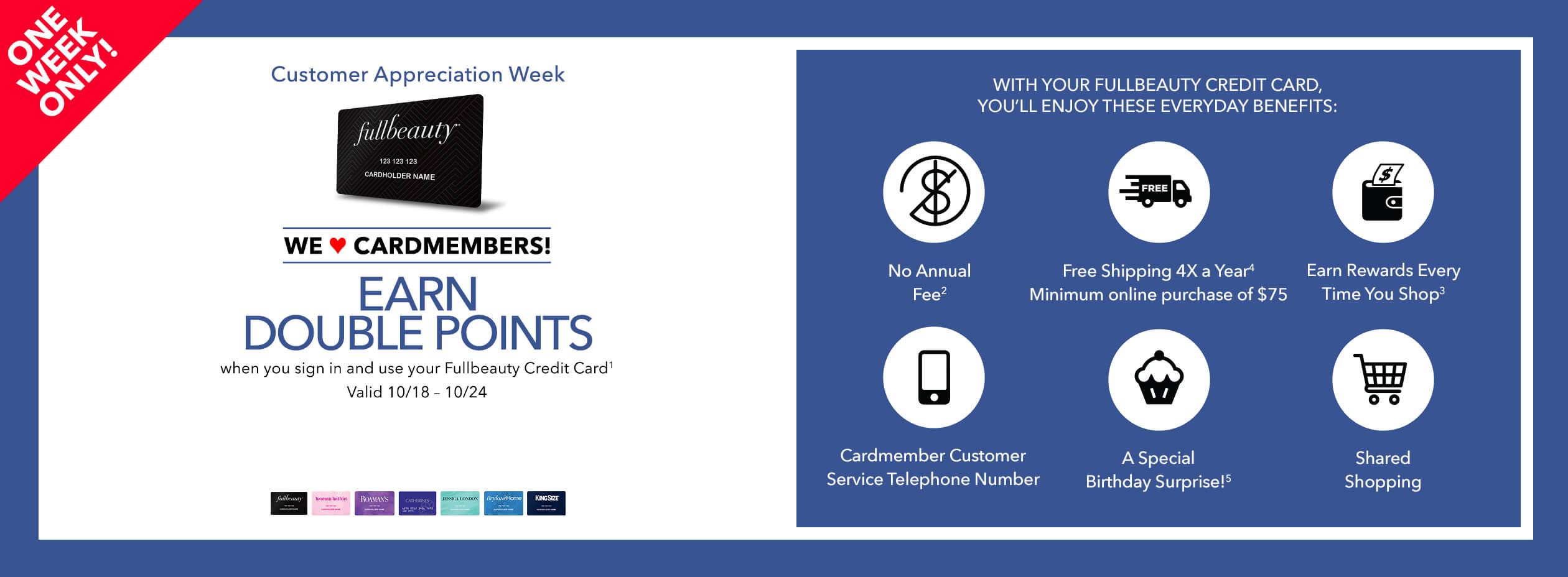 FullBeauty Credit Card double points